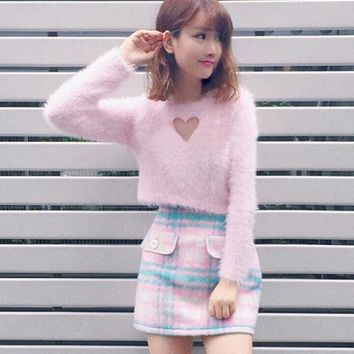PEAPOK2 Open Heart Fluffy Pink Long Sleeve Sweater