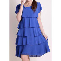 Blue Ruffled Short Sleeve Chiffon Knee Length Dress