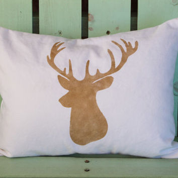 new 12x16 gold deer Christmas pillow- holiday gift-decorative cover-gifts under 30-throw pillow-accent pillow