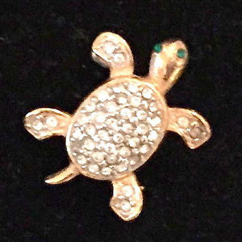 Joan Rivers Turtle Brooch, Rhinestone, Signed Joan Rivers , Costume Jewelry, Vintage Women's Fashion, Valentine Gift Idea