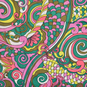 Vintage 60s 70s Op Art Psychedelic Print Cotton Fabric Yardage - 5.8 yds