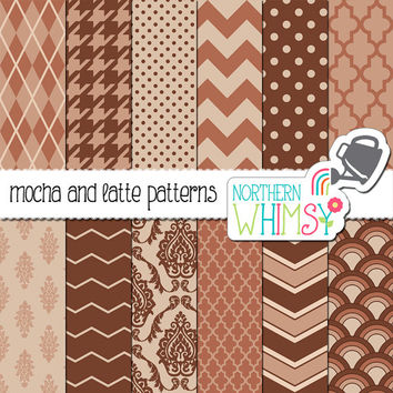 Mocha and Latte Brown Digital Paper Pack – scrapbook papers for invitations, card making, web backgrounds, etc – instant download – CU OK