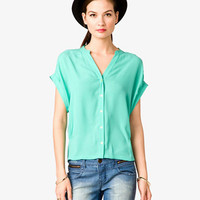 Cuffed Dolman Sleeve Chiffon Top