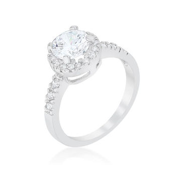 Solitaire Engagement Ring With Pave Halo, size : 08