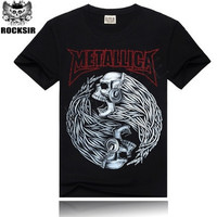 Casual Metallica Printed 3D Cotton T-shirt Black T Shirt for Men Rock Short Sleeve