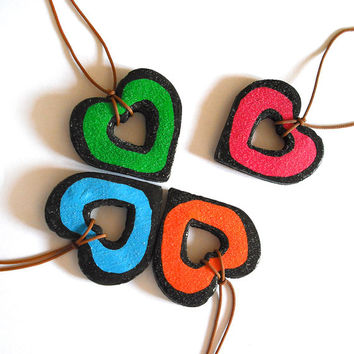 Valentine's day necklace fluorescent heart handmade in cold porcelain and hand painted