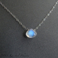 Moonstone necklace - June Birthstone solitaire Eco-friendly gift silver Rainbow moostone blue flash