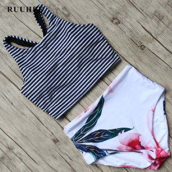 New split swimwear striped printed bikini split swimsuit fashion sexy hot spring swimsuit female