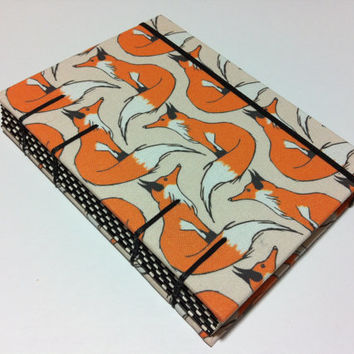 Orange Foxes - Fabric Handmade Journal Notebook - Coptic Stitched