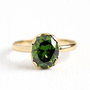 Antique 10k Yellow Gold 3.23 CT Genuine Demantoid Garnet Ring - Size 8 1/2 Vintage 190