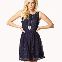Pleated Sleeveless Lace Dress