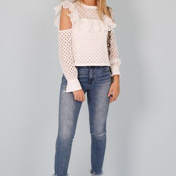Eyelet Cold Shoulder Top - White