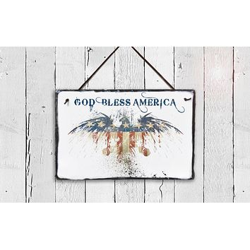 Handmade Slate Patriotic House Sign - God Bless America Plaque
