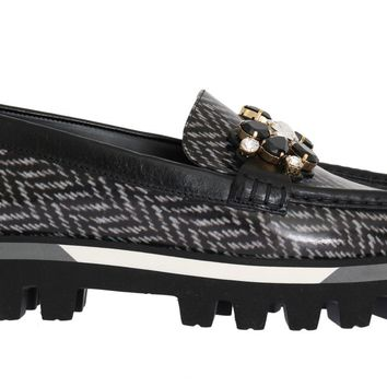 Black Leather Crystal Moccasins Shoes