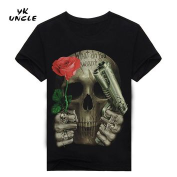 3D Printed Skull Floral T-shirt for men Newest Fashion Designed Tees Tops Punk Rock Style Cotton Man t shirt Plus Size,YK UNCLE