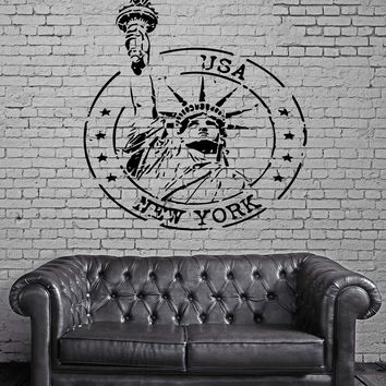 Grunge Rubber Stamp New York Statue of Liberty Wall Mural Vinyl Art Sticker Unique Gift M607