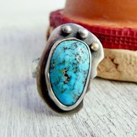 Bohemian Style Turquoise Ring, Modern Turquoise Jewelry