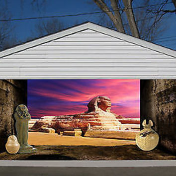 3D EFFECT GARAGE DOOR BILLBOARD STICKER COVER DECOR EGYPT SPHINX