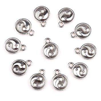 20 Pieces Magic Yin Yang Balance Powers Charms Findings for Jewelry Pendants Necklace Making 10mm
