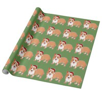 Christmas Corgi Pattern Green Wrapping Paper