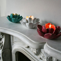 Lotus Tea Light Holders, Candle Holders | Graham and Green Home Accessories