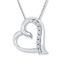 Diamond Heart Necklace  1/20 ct tw Round-cut Sterling Silver