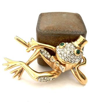 Charming Frog Brooch, Pave Ice Crystals, Green Rhinestone Eyes, Polished Gold Tone, Top Bow Tie and Cigar, Dimensional Design, Vintage Pin