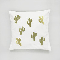 Gold Cactus Pattern Pillow, Cactus Pillow, Home Decor, Cushion Cover, Throw Pillow, Bedroom Decor, Modern Pillow, Bed Pillow, Gold Pillow,