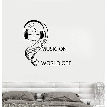 Vinyl Decal Quote Teen Girl Room Music Headphones Musical Wall Sticker Mural Unique Gift (ig2746)