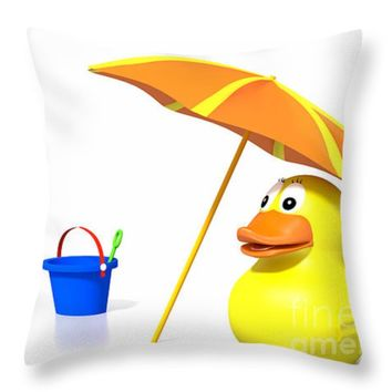 """Rubber duck at the beach Throw Pillow for Sale by Jan Brons - 14"""" x 14"""""""
