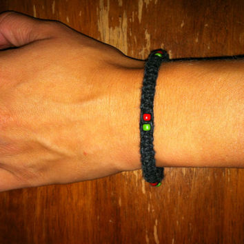 Black Hemp Bracelet with green and red (rasta colored) beads