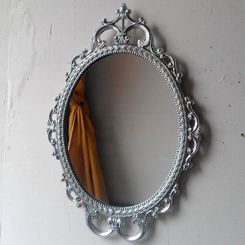 Ornate Oval Mirror in Vintage Metal Frame - 17 x 12 inch Handpainted Brass in Shiny Silver