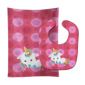 Polkadots Unicorn Baby Bib & Burp Cloth BB6810STBU