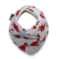 Forest Friends - Fox print scarf styled bib - Grey and brick red drool bib - Modern bandana bib - gender neutral