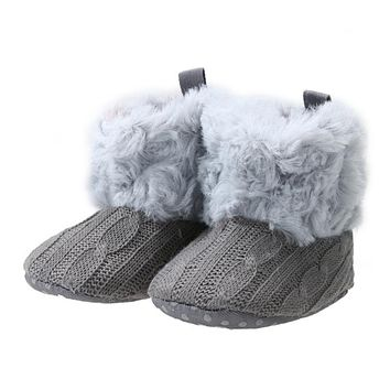 New Baby Girls Winter Warm Snow Boots Infant Toddler Kids Solid Crochet Knitting Shoes Baby Ankle Snow Boots