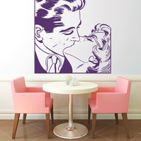 Kiss Men And Women Vinyl Decals Wall Sticker Art Design Living Room Cafe Modern Stylish Bedroom Nice Picture Home Decor Hall Interior ki451