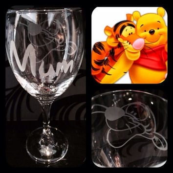 Personalised Disney Tigger Wine Glass With Free Name Engraved In Disney Font. Totally Unique Gift For Any Disney Fan!