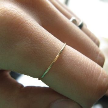 14K yellow gold  hammered skinny ring sizes 7975 by junedesigns