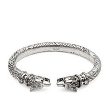 Gucci Anger Forest wolf head bracelet in silver