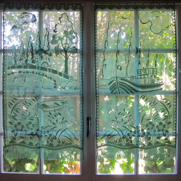 Green Lace Curtain French Window Picture Curtains Upcycled