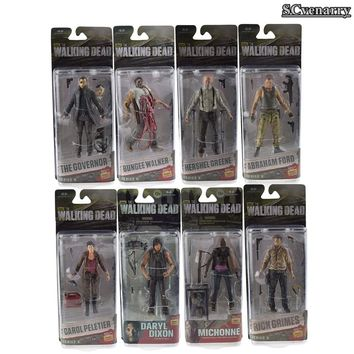 Complete set AMC The Walking Dead Rick Grimes Daryl Dixon Glenn Rhee Carl Grimes PVC Action Figure Collectible Model Toys 15cm