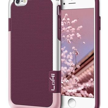 DCCKRQ5 iPhone 6s Plus / 6 Plus Case, LoHi [Extra Front Raised Lip] Hybrid Impact 3 Color Shockproof Rugged Soft TPU Hard PC Bumper Anti-slip Cover 5.5 Inch Wine Red