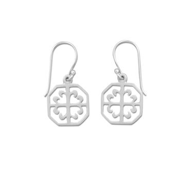 Rhodium Plated Octagon Earrings