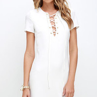 Ante-Up Ivory Lace-Up Dress