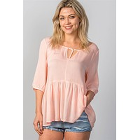 Babydoll Top with 3/4 sleeves-Pink