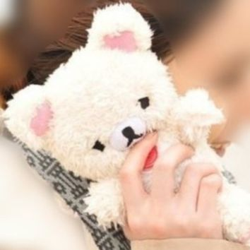 3D Cute Teddy Bear Toy Doll Plush Cover Case For LG Mobile Smart Phones (LG Optimus L90 D410 D405 D415, White)