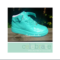 Custom Tiffany Blue Mid-Top Nike Air Force Ones