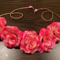 Pink Rose Flower Headband, Flower Crown, Flower Halo, Festival Wear, EDC, Coachella, Ezoo,Ultra Music Festival, Rave