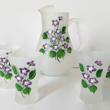 Vintage Hazel Atlas Glassware-Juice Pitcher and 6 Glasses-Frosted Glass with Hand Painted Violets-Vintage Kitchen-Hazel Atlas Glass-