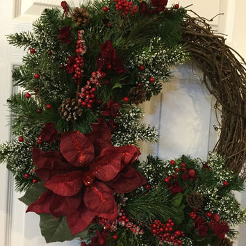 Winter Wreath,After Christmas Wreath, Grapevine Wreath, Elegant Wreath,Holiday Wreath,Handmade Wreath,Rustic Wreath, Poinsettia,Front Door